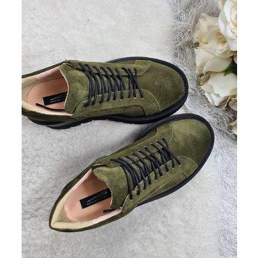 Sneakers platforma din piele naturala kaki Levi