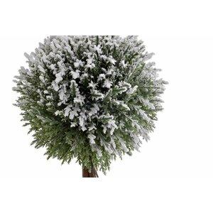 Annies Copac artificial cu zapada si Led in ghiveci, Textil, Verde