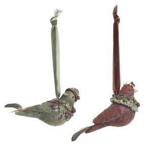 Birds Set 3 Decoratiuni suspendabile pasari, Polirasina, Verde