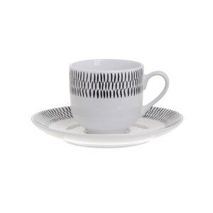 Black Set 6 cesti si 6 farfurioare cafea, Portelan, Alb