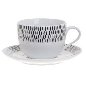 Black Set 6 cesti si 6 farfurioare ceai, Portelan, Alb