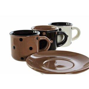 Bors Set 6 cesti si farfurioare cafea, Ceramica, Multicolor