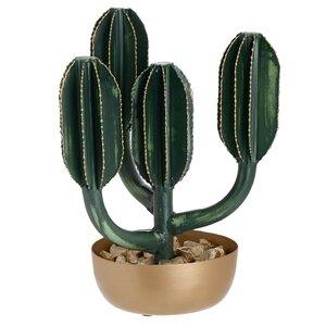 Nesy Floare artificiala cactus ghiveci mediu, Plastic, Verde