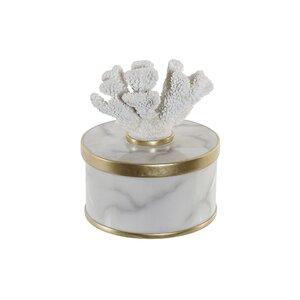 Coralin Cutie pentru bijuterii cu capac mica, Polirasina, Alb