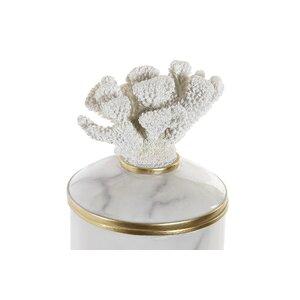 Coralin Vas decorativ cu capac, Polirasina, Alb