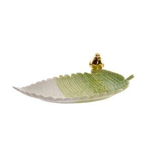 Crifa Tava decorativa frunza, Portelan, Verde