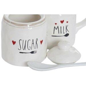 Dairy Set 3 recipiente zahar si lapte, Ceramica, Alb
