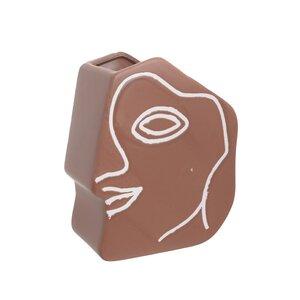 Face Suport ghiveci de perete, Ceramica, Maro