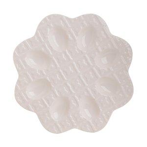Francy Platou suport oua, Ceramica, Alb