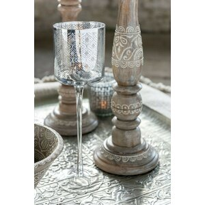 Fuly Suport Lumanare cu Picior, Sticla, Argintiu