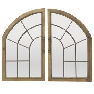 Gemini Set 2 Decoratiuni perete cu oglinda, Lemn, Maro