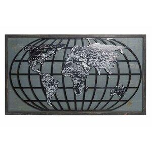 Glob Decoratiune perete, Metal, Negru