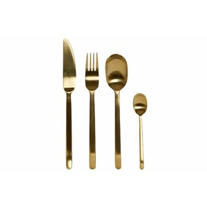 Golden Set 16 tacamuri, Inox, Auriu