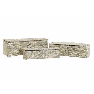 Harry Set 3 cutii depozitare, Textil, Alb