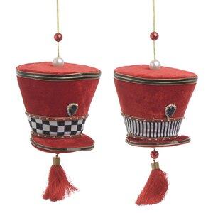 Hat Set 2 Decoratiuni suspendabile, Textil, Rosu