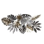 Herina Decoratiune perete frunze, Metal, Gri