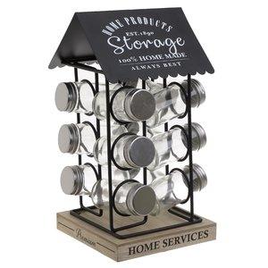 Home Suport cu 12 recipiente condimente, Metal, Negru