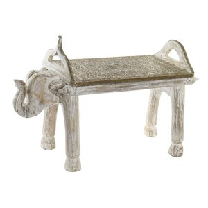 India Bancheta elefant, Lemn, Alb
