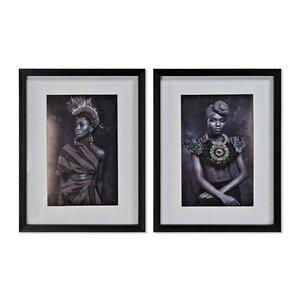 Lady Set 2 tablouri, Canvas, Negru