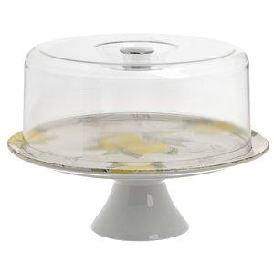 Lemon Platou tort cu picior, Ceramica, Alb