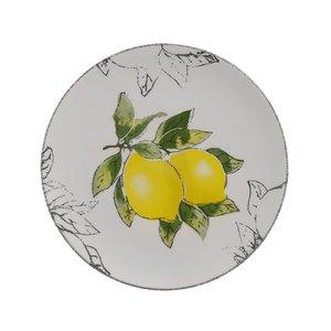 Lemon Set 6 Farfurii desert lamai, Ceramica, Alb