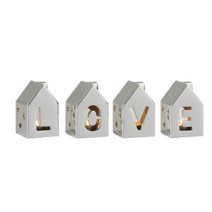 Love House Set 4 decoratiuni, Portelan, Argintiu
