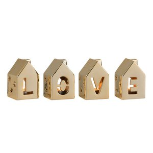 Love House Set 4 decoratiuni, Portelan, Auriu