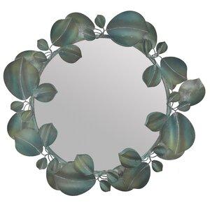 Flower Oglinda perete, Metal, Verde
