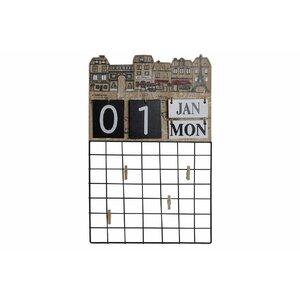 Month Decoratiune perete Calendar, Metal, Negru