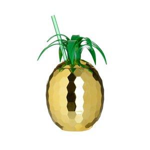 Piney Recipient cu capac ananas, Plastic, Auriu