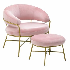 Pinky Set Fotoliu si taburet, Catifea, Roz