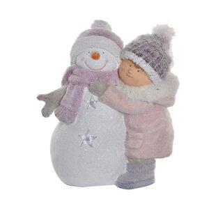 Snowman Decoratiune baiat cu Led, Fibra de sticla, Multicolor