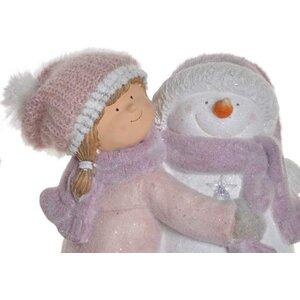 Snowman Decoratiune fetita cu Led, Fibra de sticla, Multicolor