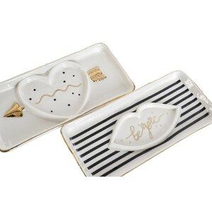Sparkly Tava decorativa, Ceramica, Alb