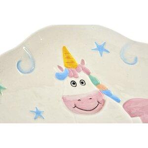 Unicorn Tava decorativa, Ceramica, Alb