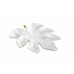 Wenddy Bol decorativ frunza, Portelan, Alb