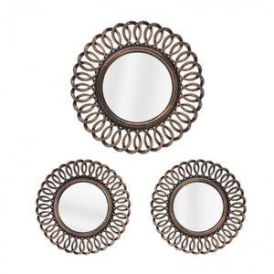 Widow Set 3 Decoratiuni perete cu oglinda, Plastic, Negru