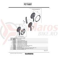 Brat pedalier Shimano FC-TX801 stanga 175 mm negru