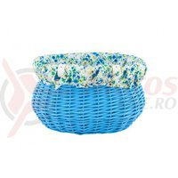 Cos bicicleta rachita oval colorat albastru cu husa flori  35x28x21 cm