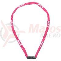 Incuietoare cu lant Axa Rigid RCC 120cm/3,5mm roz cu cifru