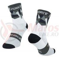 Sosete Force Triangle alb/gri/negru