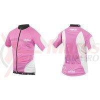 Tricou ciclism Force Kid Star 128-140 cm roz/alb
