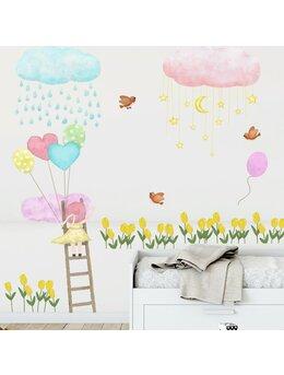 Autocolant de perete fetiță-norisori 62x80cm