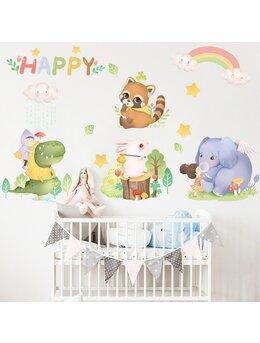 Autocolant de perete Happy animals 54x129cm
