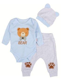 Compleu bear-bear 3 piese bleu
