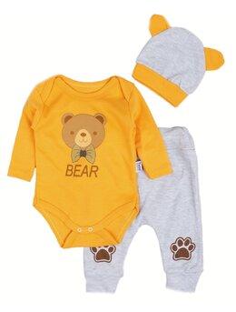 Compleu bear-bear 3 piese galben