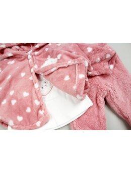 Compleu cu pelerina inimioare model roz prafuit