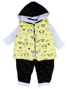 Compleu cu vesta galbena model panda