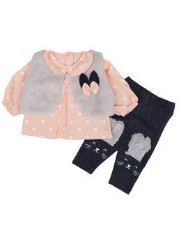 Compleu Elegant baby girl cu blăniță coral