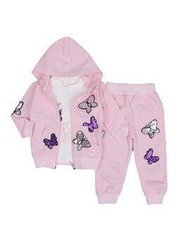 Compleu fluturas cu paiete model roz